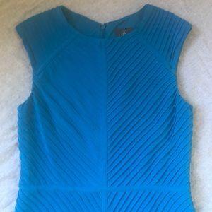 Adrianna Papell Blue Sleeveless Pintuck Dress